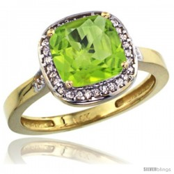14k Yellow Gold Diamond Peridot Ring 2.08 ct Checkerboard Cushion 8mm Stone 1/2.08 in wide