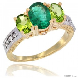 14k Yellow Gold Ladies Oval Natural Emerald 3-Stone Ring with Peridot Sides Diamond Accent