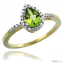 14k Yellow Gold Diamond Peridot Ring 0.59 ct Tear Drop 7x5 Stone 3/8 in wide