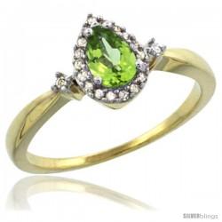 14k Yellow Gold Diamond Peridot Ring 0.33 ct Tear Drop 6x4 Stone 3/8 in wide