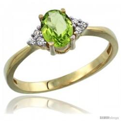 14k Yellow Gold Ladies Natural Peridot Ring oval 7x5 Stone Diamond Accent