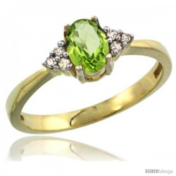 14k Yellow Gold Ladies Natural Peridot Ring oval 6x4 Stone Diamond Accent