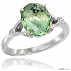 10k White Gold Diamond Green-Amethyst Ring 2.4 ct Oval Stone 10x8 mm, 3/8 in wide