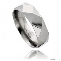 Titanium 8mm Faceted Wedding Band Ring Comfort-fit