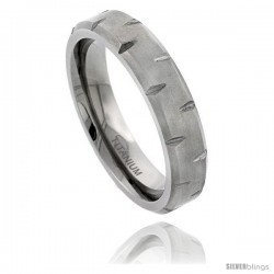 Titanium 6mm Flat Wedding Band Ring Notched Beveled Edges and Matte Finish Comfort-fit