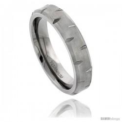 Titanium 6mm Flat Wedding Band Ring Notched Beveled Edges and Matte Finish Comfort-fit