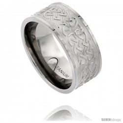 Titanium 10mm Flat Wedding Band Ring Polished Celtic Knot work on Matte Background Comfort-fit