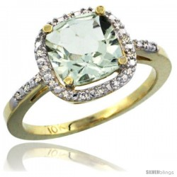 10k Yellow Gold Ladies Natural Green Amethyst Ring Cushion-cut 3.8 ct. 8x8 Stone