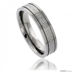 Titanium 6 mm Flat Wedding Band Ring Etched Celtic Knot work Raised Edges Comfort Fit