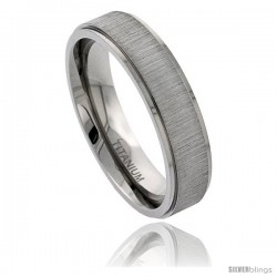 Titanium 6mm Flat Wedding Band Ring Brushed center Recessed Edges Comfort-fit