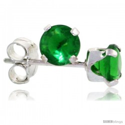 Sterling Silver Brilliant Cut Cubic Zirconia Stud Earrings 4 mm Emerald Green Color 1/2 cttw