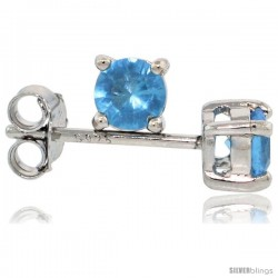 Sterling Silver Brilliant Cut Cubic Zirconia Stud Earrings Topaz Blue 1/4 cttw Basket Set Rhodium Finish