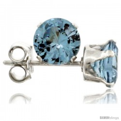 Sterling Silver Brilliant Cut Cubic Zirconia Stud Earrings 5 mm Topaz Blue Color 1 cttw
