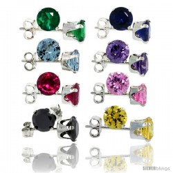 8-Pair Set Sterling Silver Color Cubic Zirconia Stud Earrings 5 mm Emerald, Blue Sapphire, Blue Topaz, Amethyst, Ruby, Pink