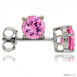 Sterling Silver Brilliant Cut Cubic Zirconia Stud Earrings Pink Zircon 1/2 cttw Basket Set Rhodium Finish