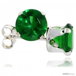 Sterling Silver Brilliant Cut Cubic Zirconia Stud Earrings 6 mm Emerald Green Color 2 cttw