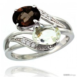 14k White Gold ( 8x6 mm ) Double Stone Engagement Green Amethyst & Smoky Topaz Ring w/ 0.07 Carat Brilliant Cut Diamonds & 2.34