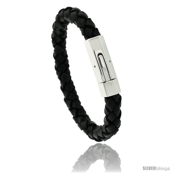 https://www.silverblings.com/500-thickbox_default/stainless-steel-leather-braid-bracelet-color-black-3-8-in-wide.jpg