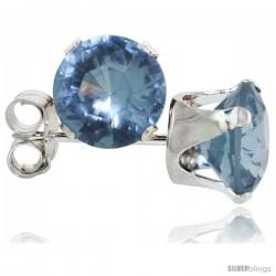 Sterling Silver Brilliant Cut Cubic Zirconia Stud Earrings 6 mm Blue Topaz Color 2 cttw