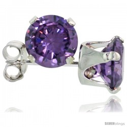 Sterling Silver Brilliant Cut Cubic Zirconia Stud Earrings 6 mm Amethyst Purple Color 2 cttw