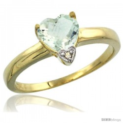 10K Yellow Gold Natural Green Amethyst Heart-shape 7x7 Stone Diamond Accent