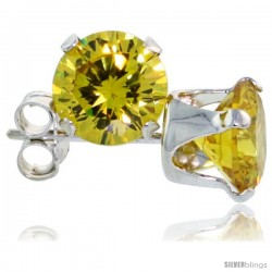 Sterling Silver Brilliant Cut Cubic Zirconia Stud Earrings 6 mm Citrine Yellow Color 2 cttw
