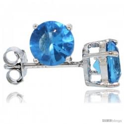 Sterling Silver Brilliant Cut Cubic Zirconia Stud Earrings Topaz Blue 1 cttw Basket Set Rhodium Finish