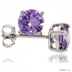 Sterling Silver Brilliant Cut Cubic Zirconia Stud Earrings Amethyst Purple 1 cttw Basket Set Rhodium Finish
