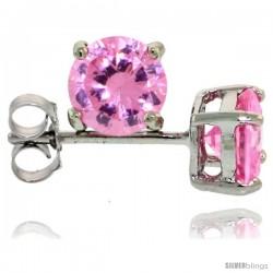 Sterling Silver Brilliant Cut Cubic Zirconia Stud Earrings Pink Zircon 1 cttw Basket Set Rhodium Finish