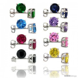 8 pair set Sterling Silver 2 cttw Color CZ Stud Earrings Emerald, Blue Sapphire, Blue Topaz, Amethyst, Ruby, Pink, Black