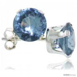 Sterling Silver Brilliant Cut Cubic Zirconia Stud Earrings 7 mm Topaz Blue Color 2 1/2 cttw