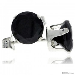 Sterling Silver Brilliant Cut Cubic Zirconia Stud Earrings 7 mm Black Color 2 1/2 cttw