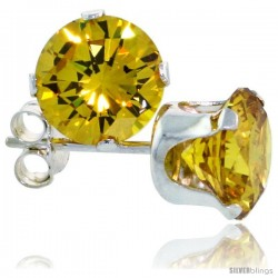 Sterling Silver Brilliant Cut Cubic Zirconia Stud Earrings 7 mm Citrine Yellow Color 2 1/2 cttw