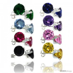 8-Pair Set Sterling Silver Color Cubic Zirconia Stud Earrings 7 mm Emerald, Blue Sapphire, Blue Topaz, Amethyst, Ruby, Pink