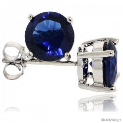 Sterling Silver Brilliant Cut Cubic Zirconia Stud Earrings Sapphire Blue 1 1/4 cttw Basket Set Rhodium Finish