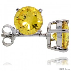 Sterling Silver Brilliant Cut Cubic Zirconia Stud Earrings Citrine Yellow 1 1/4 cttw Basket Set Rhodium Finish