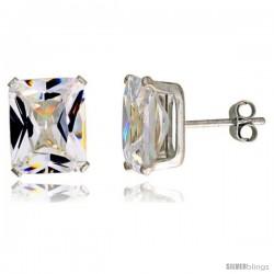 Sterling Silver Cubic Zirconia Stud Earrings 8 cttw Emerald Shape