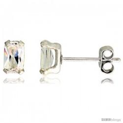 Sterling Silver Cubic Zirconia Stud Earrings 1/2 cttw Emerald Shape