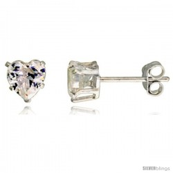 Sterling Silver Cubic Zirconia Stud Earrings 1 cttw Heart Shape
