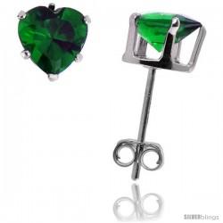 Sterling Silver Heart Cubic Zirconia Stud Earrings 6 mm Emerald Green