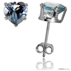 Sterling Silver Heart Cubic Zirconia Stud Earrings 6 mm Blue Topaz Colored 1 1/2 cttw