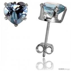 Sterling Silver Heart Cubic Zirconia Stud Earrings 6 mm Blue Topaz Colored 1 1/2 cttw