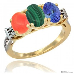 10K Yellow Gold Natural Coral, Malachite & Tanzanite Ring 3-Stone Oval 7x5 mm Diamond Accent