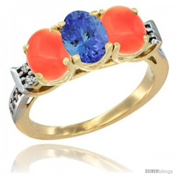 10K Yellow Gold Natural Tanzanite & Coral Sides Ring 3-Stone Oval 7x5 mm Diamond Accent