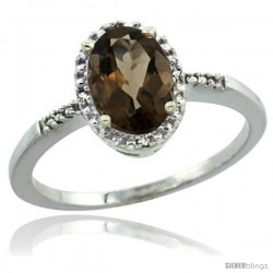 Sterling Silver Diamond Natural Smoky Topaz Ring 1.17 ct Oval Stone 8x6 mm, 3/8 in wide