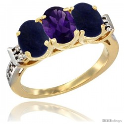 10K Yellow Gold Natural Amethyst & Lapis Sides Ring 3-Stone Oval 7x5 mm Diamond Accent