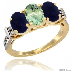 10K Yellow Gold Natural Green Amethyst & Lapis Sides Ring 3-Stone Oval 7x5 mm Diamond Accent
