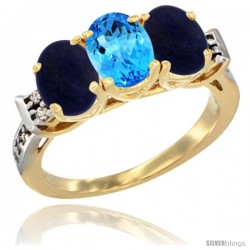 10K Yellow Gold Natural Swiss Blue Topaz & Lapis Sides Ring 3-Stone Oval 7x5 mm Diamond Accent