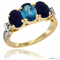 10K Yellow Gold Natural London Blue Topaz & Lapis Sides Ring 3-Stone Oval 7x5 mm Diamond Accent