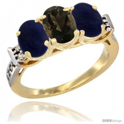 10K Yellow Gold Natural Smoky Topaz & Lapis Sides Ring 3-Stone Oval 7x5 mm Diamond Accent